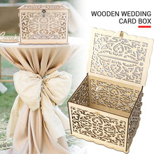 with Lock Wedding Money Box Wooden DIY Party Ornament Home Decoration Creative Birthday Gift Celebration