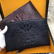 Authentic Real Crocodile Skin Zipper Closure Men's Large Thin Clutch Purse Genuine Alligator Leather Male Wristlets Card Bag