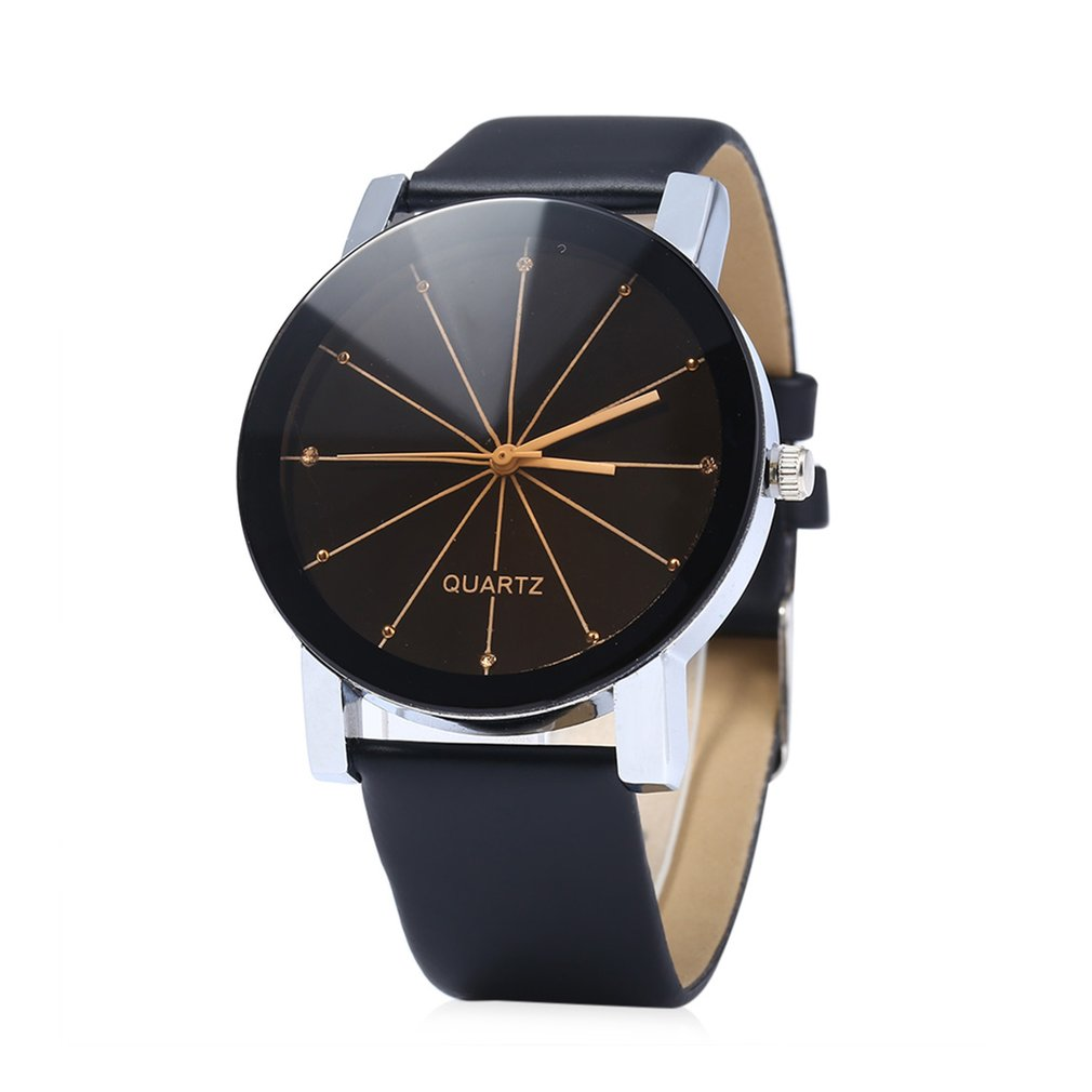 Hot Leather Wristband Quartz Watches Boys Girls Student Wristwatch Lover Casual Round Dial Watch