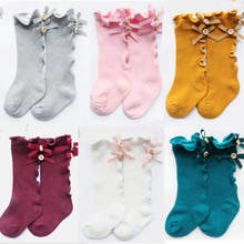 The New Cotton Lace Medium express Bowknot Socks for Baby Girls Toddler Spring Autumn Kids High Knee Sock High - quality legwarm(China)