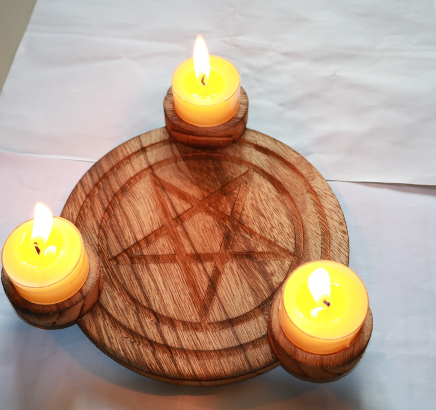 Wood Candle Holder Tealight Tray Tarots Altar Wicca Ethnic Pentagram Witchcraft