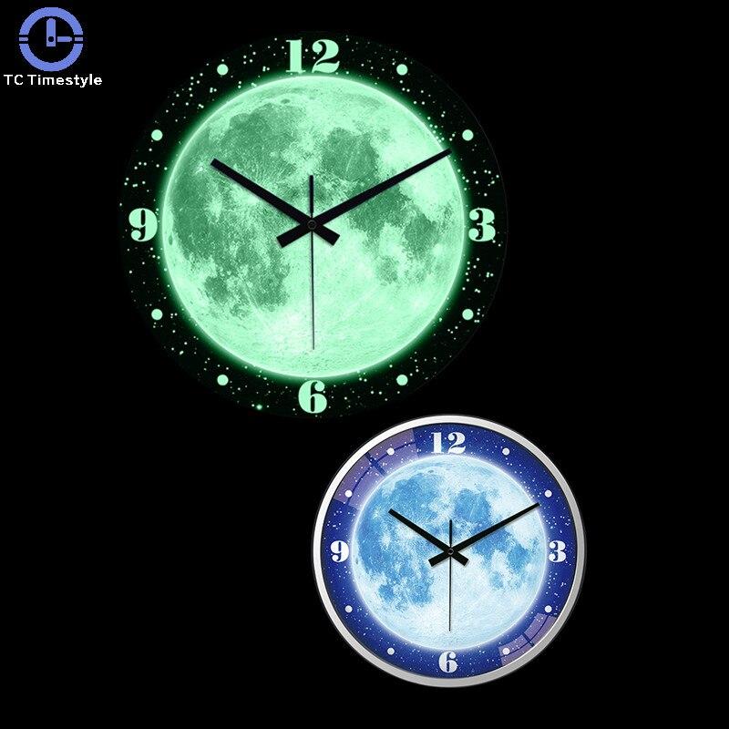 14 pouces horloge murale muet veilleuse salon horloges lumineuses moderne Quartz décor chambre horloge rougeoyante pour la maison