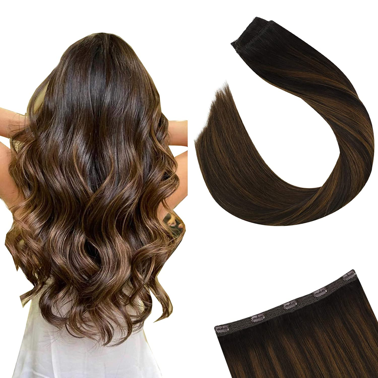 Ugeat Clip in Hair Extensions One Piece 50Gram Human Hair Extensions Balayage Color 2/6/2 14-24