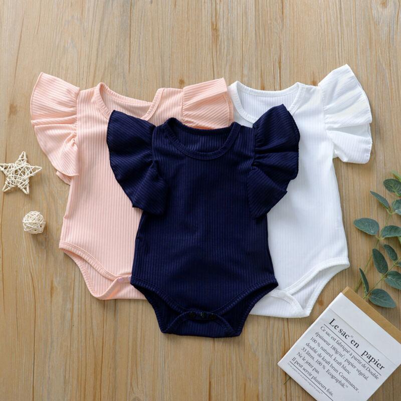 2020 Newborn Body Suit Baby Girl Cotton Short Sleeve Bodysuit Clothes Set Sunsuit Solid Color Knit  Infant Clothing