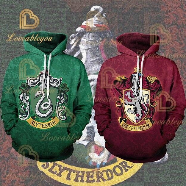 Hot Sale  Mens Sporting Hoodies Wizardry 3D Hoody Sweatshirt Hogwarts Slytherin Gryffindor Bundle's Streetwear Cosplay Costume