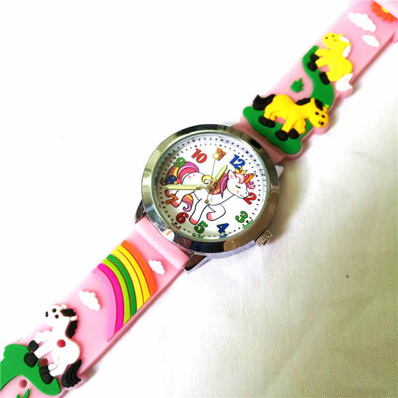 3D Children Cartoon Watches Quartz Beautiful Cute Pony Mini Baby Kids Watch Boys Girls Xmas Gift Clock Relogio Infantil