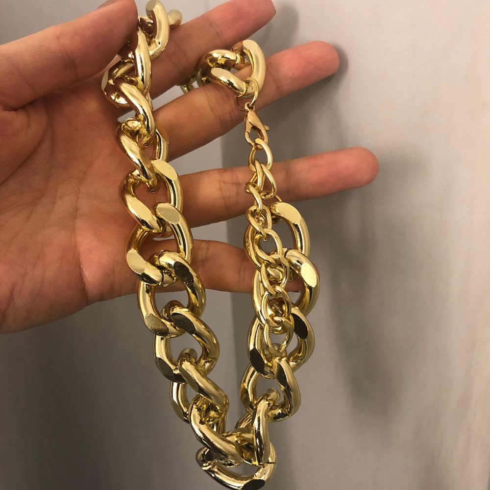 Nowy Punk Miami kubański Choker wyróżniający się naszyjnik Hip Hop kołnierz duży Link Chunky aluminium złoty łańcuch naszyjniki kobiety biżuteria