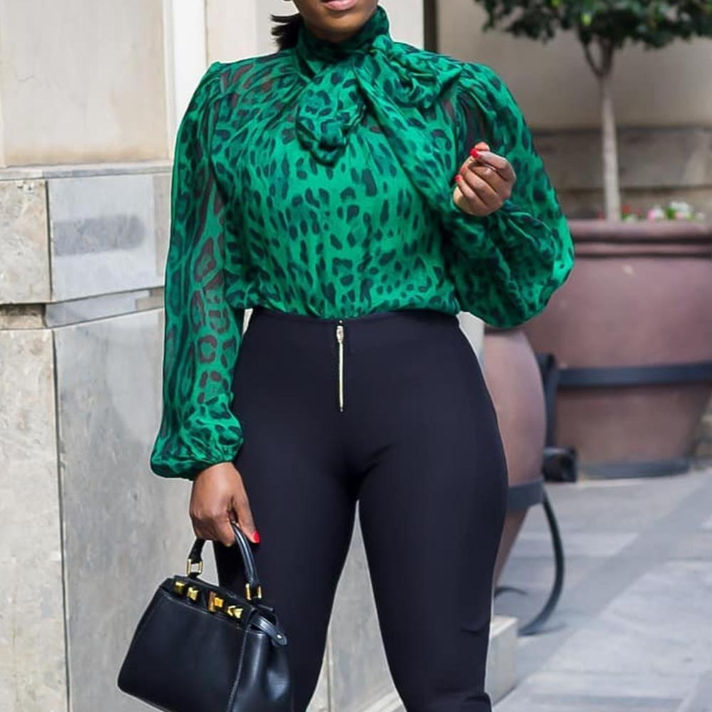 Green Leoparad Printed Blouse Lantern Sleeve Autumn Office Workwear Elegant 2019 African Female Bowknot Party Tops Shirts Plus