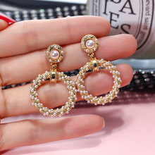 Pearl  Retro Baroque Circle Geometric Round Earrings Small  drop  trendy  luxury  korean earrings цена