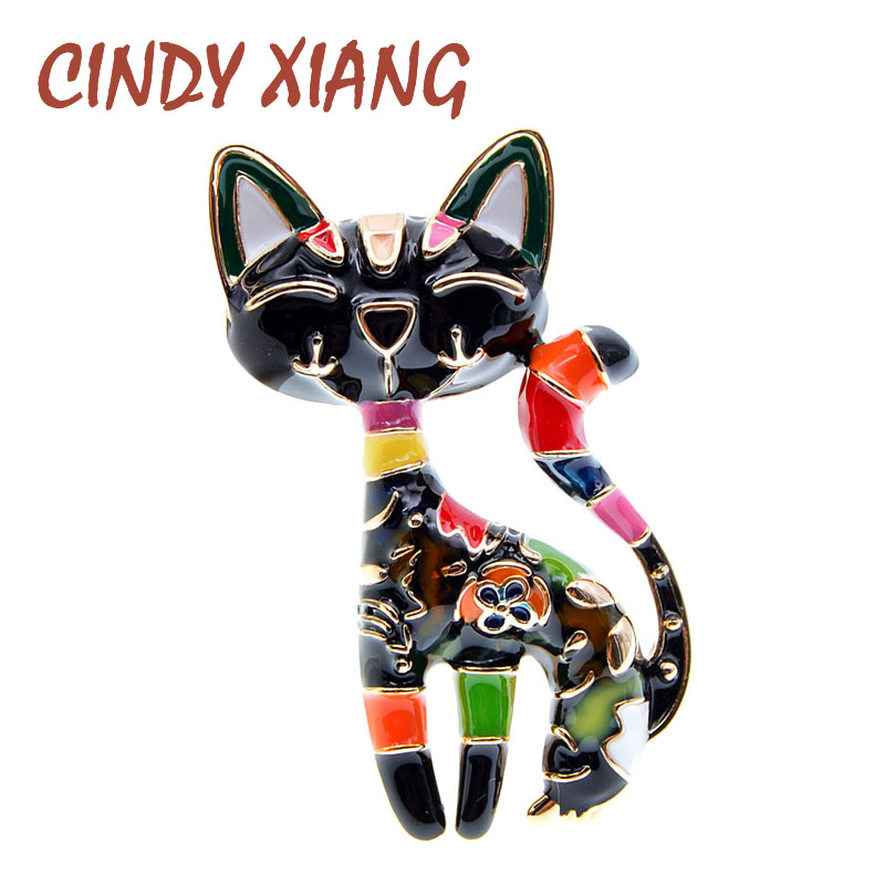 CINDY XIANG New Arrival Cute Enamel Paint Cat Brooch Unisex Women And Men Brooch Pin Animal Design Fashion Jewelry 2 Colors