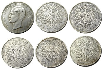Germany German Bavaria coin 5 mark silver A SET OF (1896-1908)D5PCS Otto Silver Plated Copy Coins image