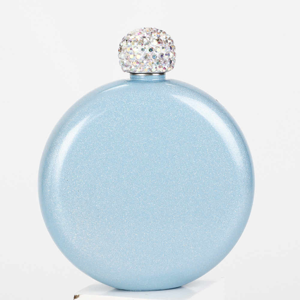 Fashion Hip Flask 140ml Portable Stainless Steel Wine Alcohol Liquor Flask Creative Crystal Lid Best Holiday Party Birthday Gift
