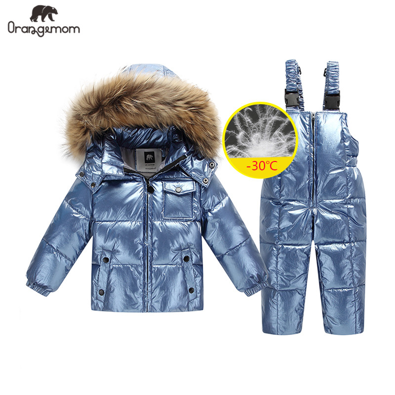 2019 Orangemom Russia Winter Jacket For Girls Boys Coats & Outerwear , Warm Duck Down Kids Boy Clothes Shiny Parka Ski Snowsuit