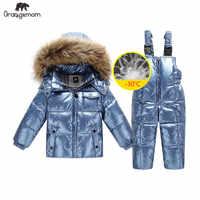 2019 orangemom Rusia chaqueta de invierno para niñas y niños abrigos y prendas de vestir exteriores, plumón de pato cálido para niños ropa de niño parka brillante esquí snowsuit