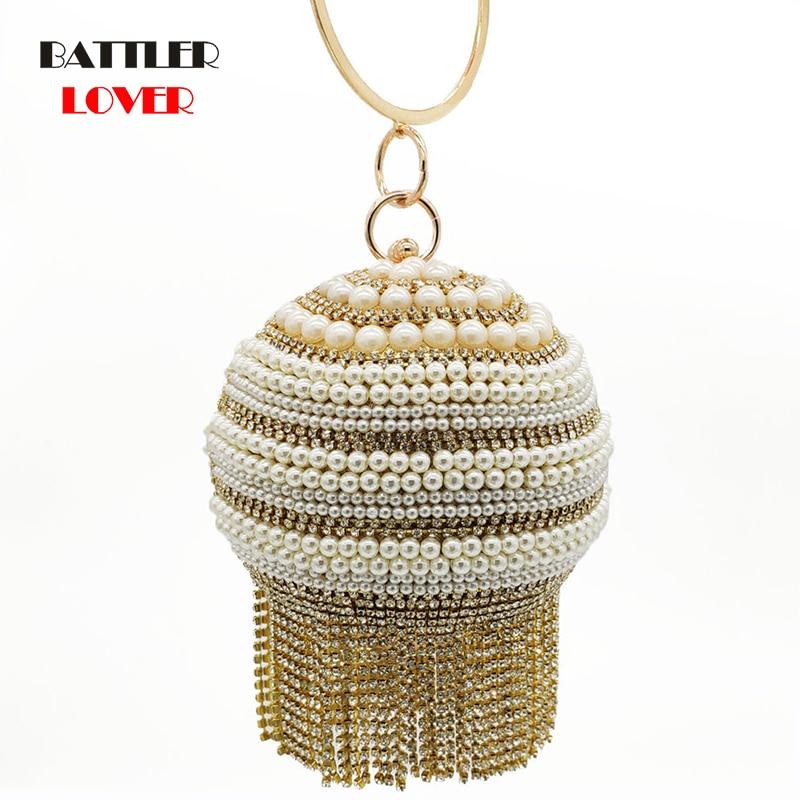 Gold Silver Pearl Tassel Women Party Metal Crystal Clutches Evening Bags Wedding Bridal Shoulder Handbag Wristlets Clutch Purse