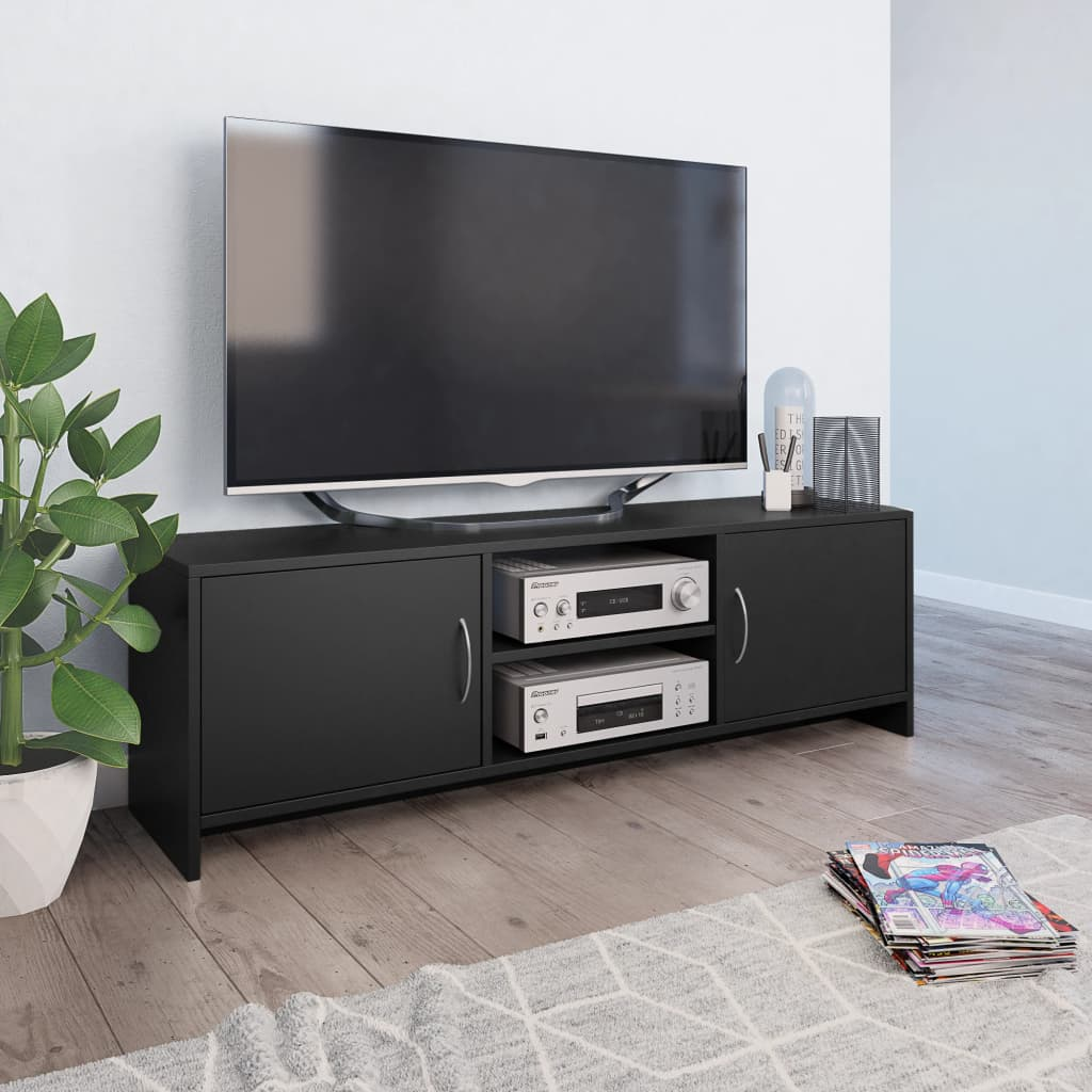 Sturdy TV Stand Made Of Chipboard TV Cabinet Designed With 2 Doors And 2 Shelves Trendy And Practical