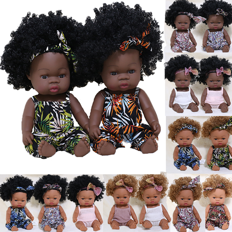 35cm Black Reborn Baby Doll Bath Play Baby Doll with Summer Dress Full Silicone African Reborn Bebe Toys Girl Curl Hair Doll