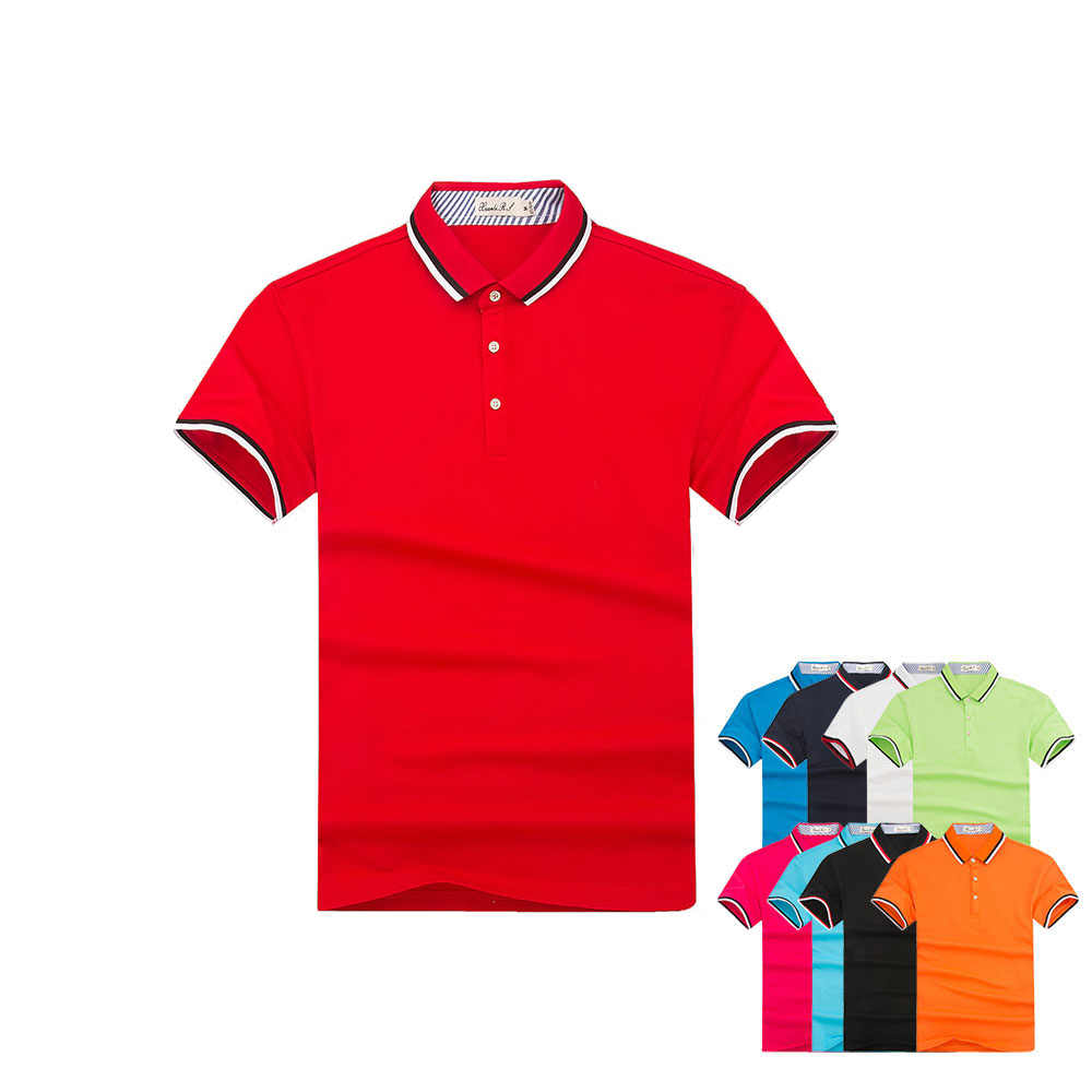 High-end men's short-sleeved  solid color Polo shirt striped lapel advertising shirt custom factory clothing printed logo