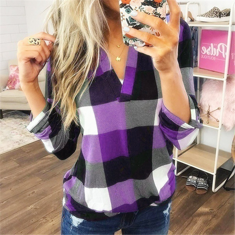 Long Sleeve T Shirt Women Plaid V-Neck Autumn Spring Oversized Shirt Loose Plus Size Overalls Ladies Top Tee Casual Tshirt Women
