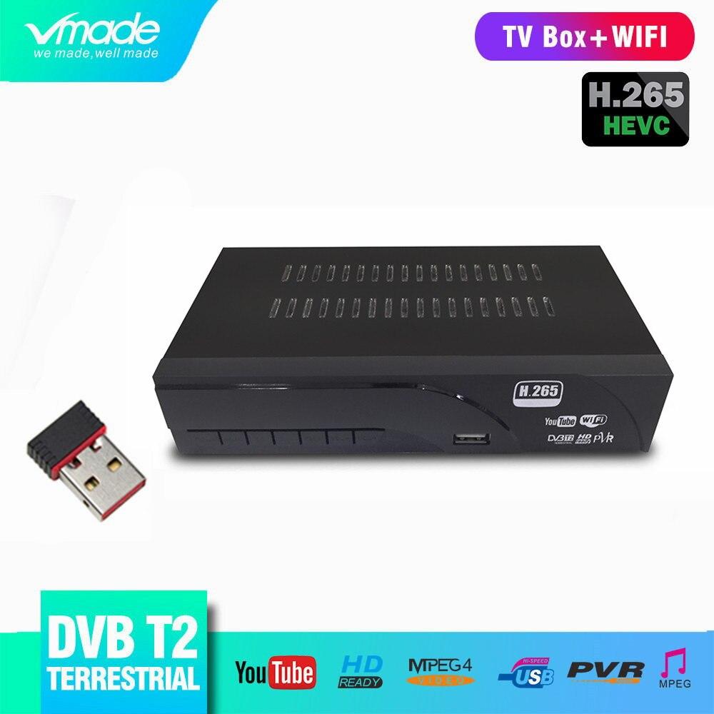 DVB-T2 Terrestrial Digital Receiver Supports H.265/HEVC DVB-T H265 Hevc Dvb T2 Hot Sale Europe Czech Republic+WiFi Dongle