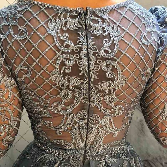 2020 Dubai Dusty Blue Elegant Full Sleeve Evening Dresses V Neck Embroidered Crystal Evening Gowns Plus Size
