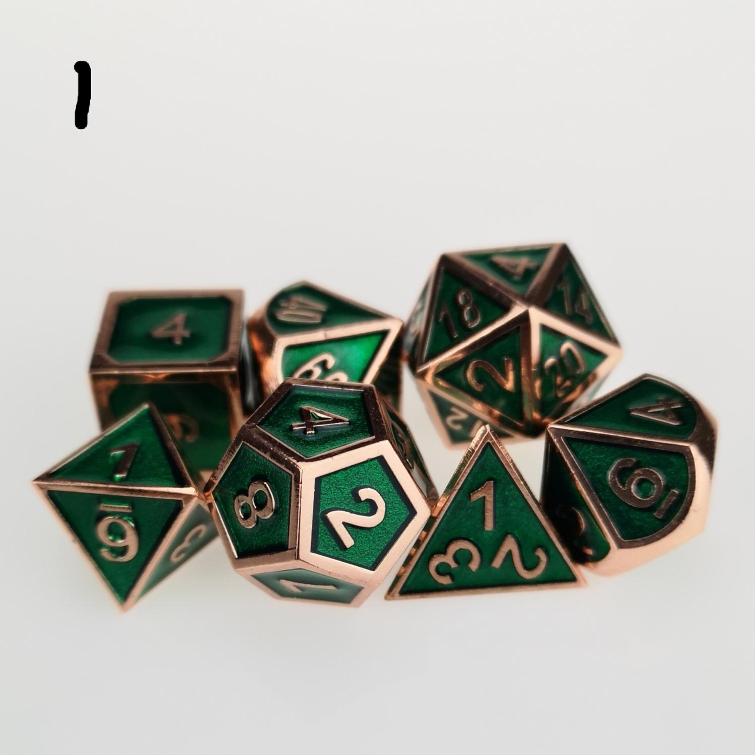 Standard 7-Die Set Green Metal Dice Collection For DND RPG MTG D&d Games