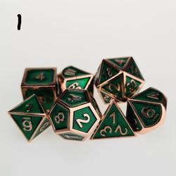Juego de 7 troqueles estándar, colección de dados de Metal verde para juegos de DND RPG MTG d & d