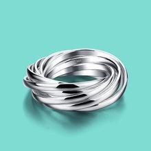 Feminino 925 anel de prata esterlina especial 9 loop design prata anel feminino prata 925 jóias o aniversário presente bijoux