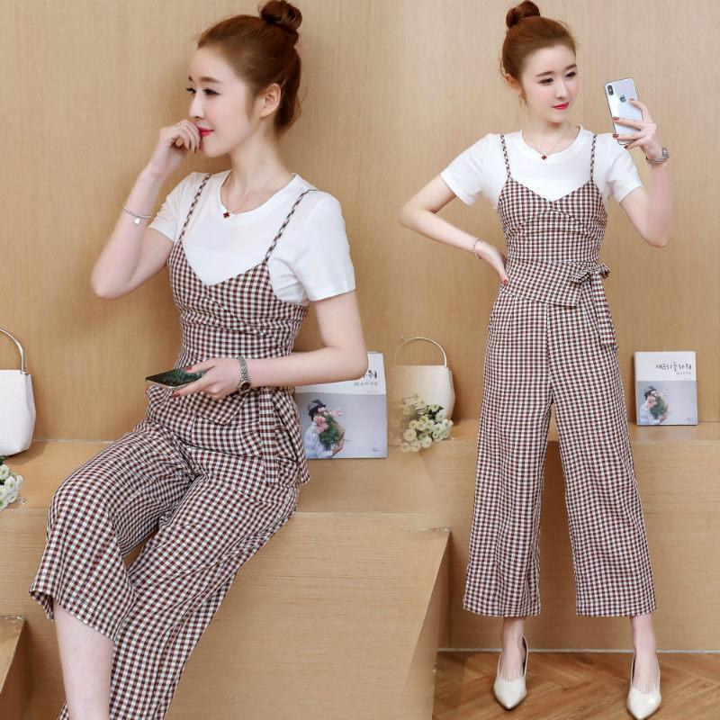 Summer Wear Korean-style Elegant Slimming Plaid Onesie Women's High-waisted Camisole Loose Pants Suspender Strap Capri Pants Set