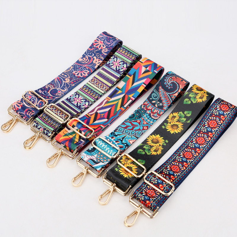 New Floral Geometric Design Strap Belts Handle Satchel Replacement Handbag Bag Strap Crossbody Shoulder Wallet Purse Nylon Strap