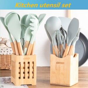 Image 1 - 9/11/12PCS Kitchen eşyaları seti, silikon pişirme kapları seti, ahşap Spatula büyük kaşık yapışmaz, pişirme araçları, mutfak seti