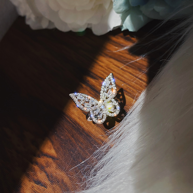2020 New Design Fashion Jewelry Luxury Copper Inlaid Zircon Ring Opening Cute Butterfly Prom Party Ring for women