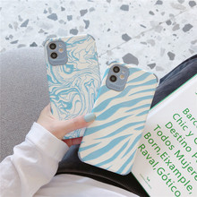 Cow Zebra Pattern PU Leather Texture Blue Phone Case for iPhone SE 2020 7 8 Plus X XR XS 11 12 Pro Max Soft Silicone Cover Coque