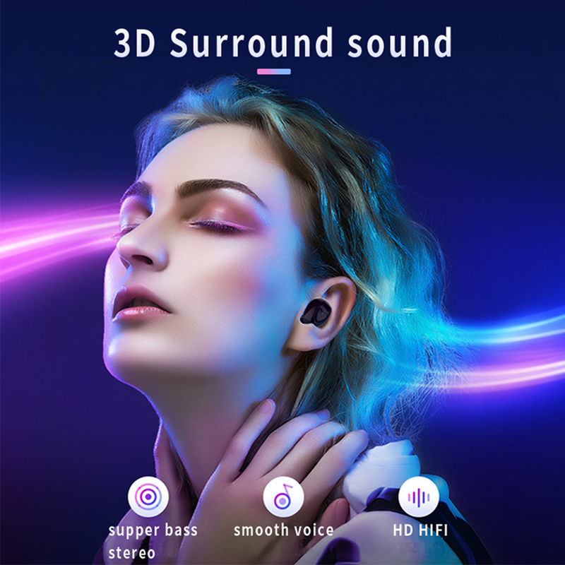 TW20 TWS Bluetooth Earphone 5.0 3D Surround Sound Wireless Earbuds Metal Trolley Stereo Bass Noise Cancelling Headset With Mic