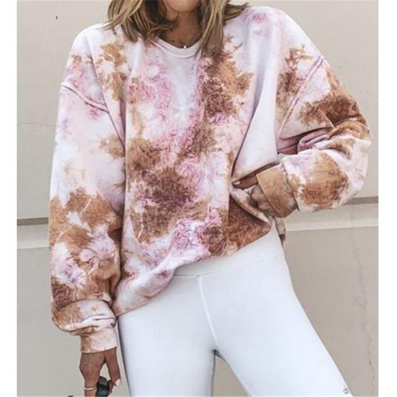 New Autumn Winter Round Neck Casual Tie-Dyed Sweatshirts Long Sleeve Fashion Loose Hoodie Pullovers Clothes Top Plus Size S--3XL