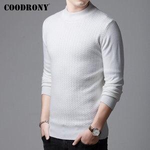 Image 3 - COODRONY marka sweter mężczyźni jesień zima gruby ciepły kaszmirowy wełniany sweter mężczyźni Pure Color dzianina golf Pull Homme 91114