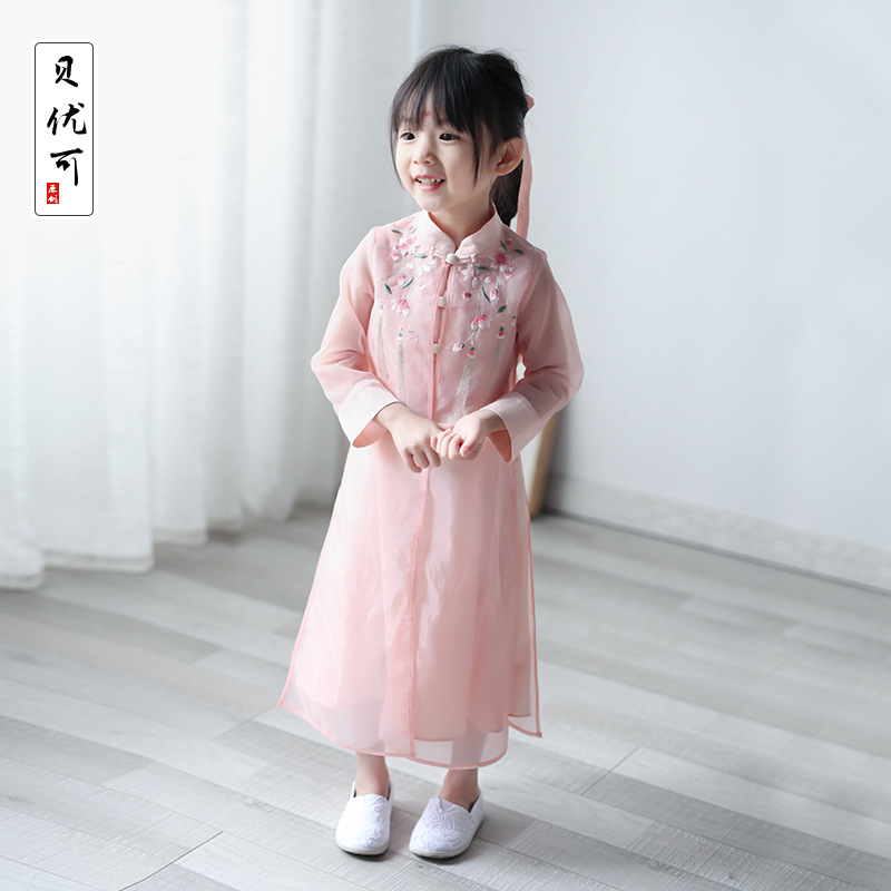 Bei You Ke Origional Chinese-style Chinese Clothing Girls' Shirt Spring And Autumn New Products Children Organza Dress 21593