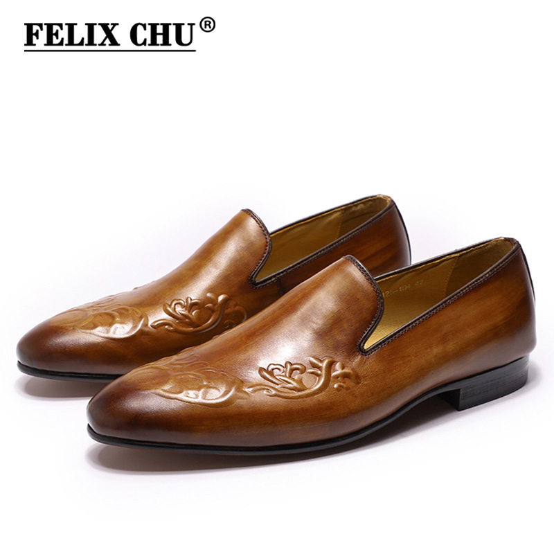 FELIX CHU Street Fashion Men's Loafers Slip-ons Genuine Leather Brown Casual Business Dress Shoes Party Wedding Mens Footwear