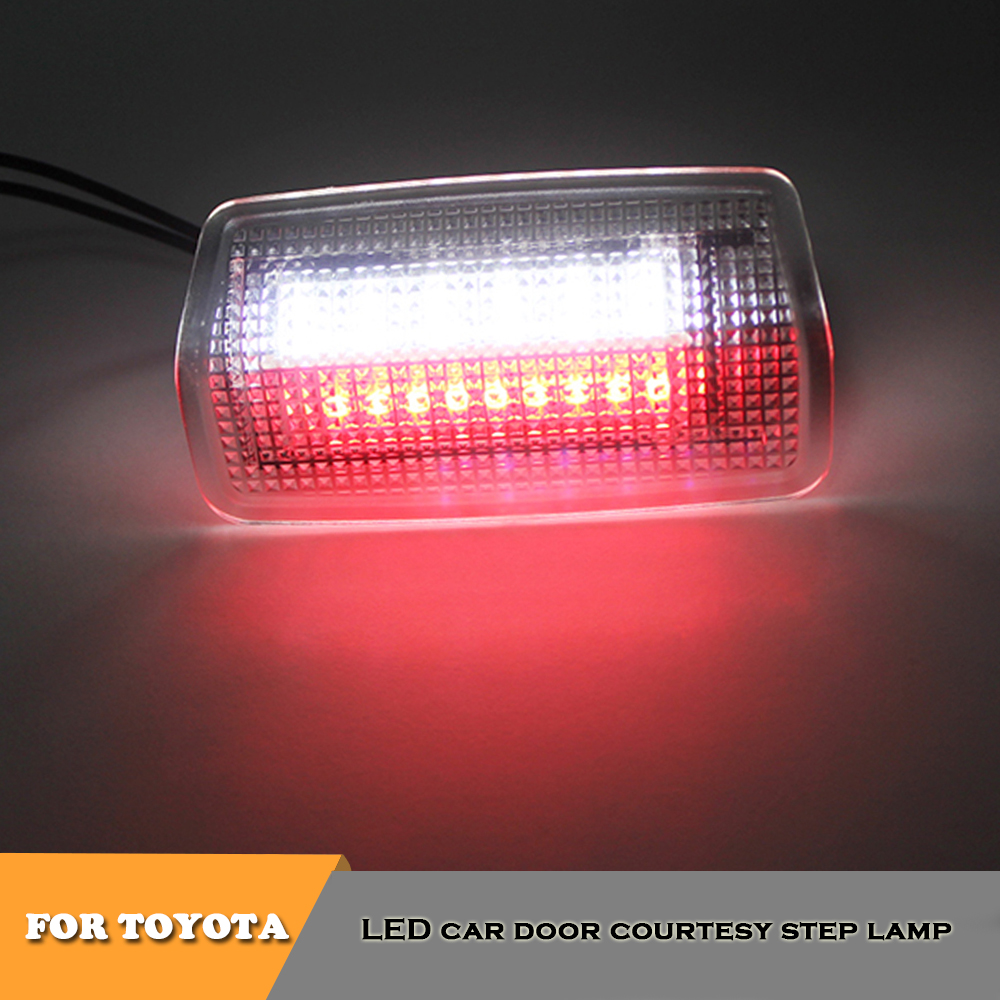 2pcs white red led car door lights for <font><b>Toyota</b></font> EZ 4Runner Aurion Avalon Alphard Crown Corolla Canarado Harrier <font><b>Highlander</b></font> Kluger image