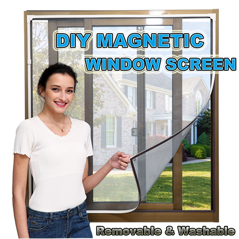 Adjustable DIY Customize Magnetic Window Screen Windows For Motorhomes Removable Washable Invisible Fly Mosquito Screen Net Mesh
