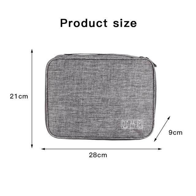 3-layer Electronics Storage Bag Polyester Multi-functional Organizer Data Cable Storage Case Bag 28×21×9 cm 4