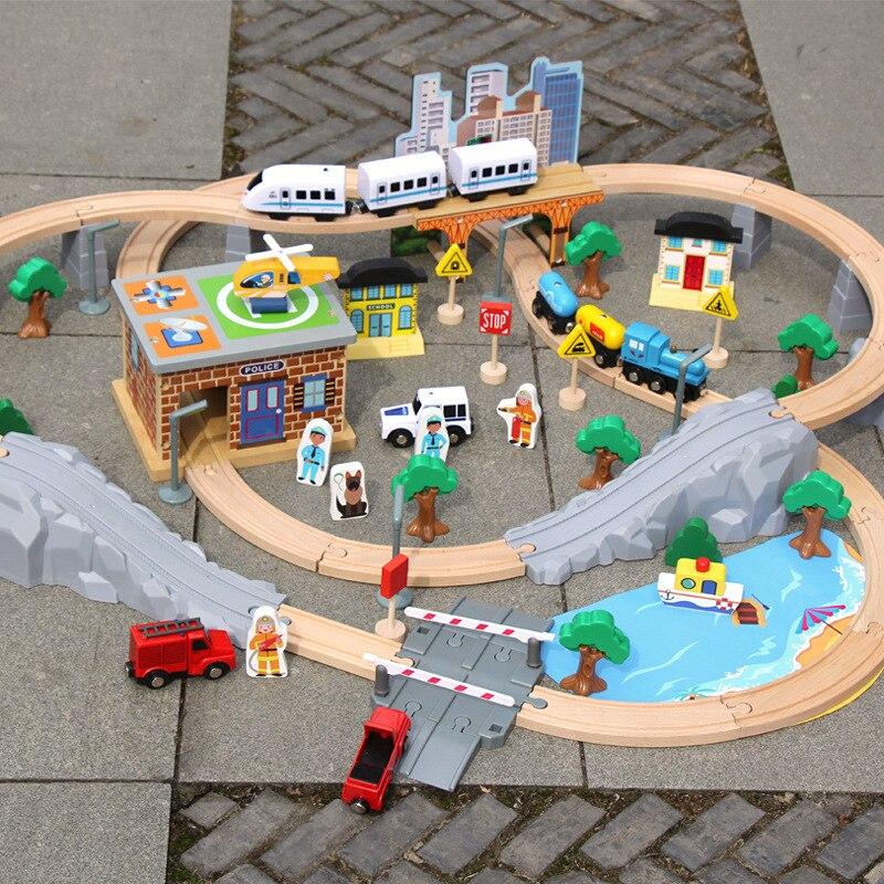 Деревянный Железнодорожный автомобиль, набор из 95 предметов, игрушки, электрический локомотив, детские развивающие игрушки, взаимодействи...
