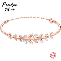 PANDOO Fashion Charm Pure 925 Silver Original 1:1 Copy, Fresh Branch Shape Exquisite Wild Bracelet Female Luxury Jewelry Gifts