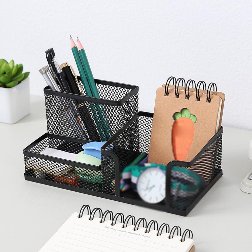 3 Grid Fashion Multi-function Office Supplies Iron Desktop Pen Holder Storage Box Mesh Organizer Home Stationery Case Gift