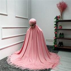 Muslim Two-Piece Set Women Top and Skirt Ramadan Worship Robe Lace Musulman Big Swing Maxi Skirts Dubai Kaftan Islamic Clothing