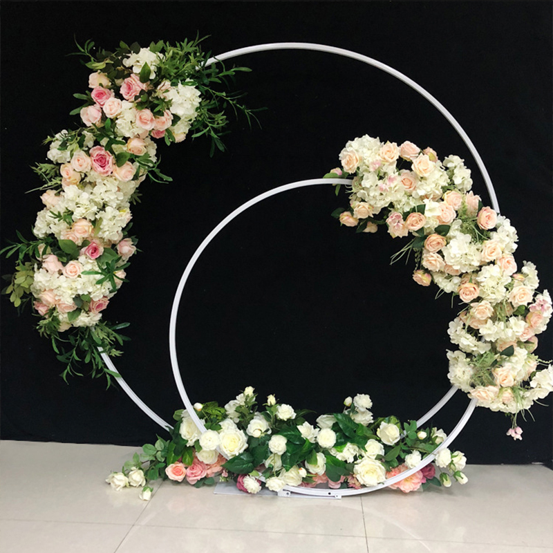 Arch Decorations Wedding Stand Metal Backdrop Home Christmas Round Double Wedding Circle For Arch Outdoor Ring Double