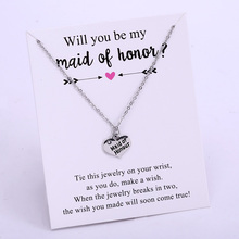 Bride Maid of Honour Chain Necklaces Honor Flower Girl Bridesmaid Silver Pendants Necklace