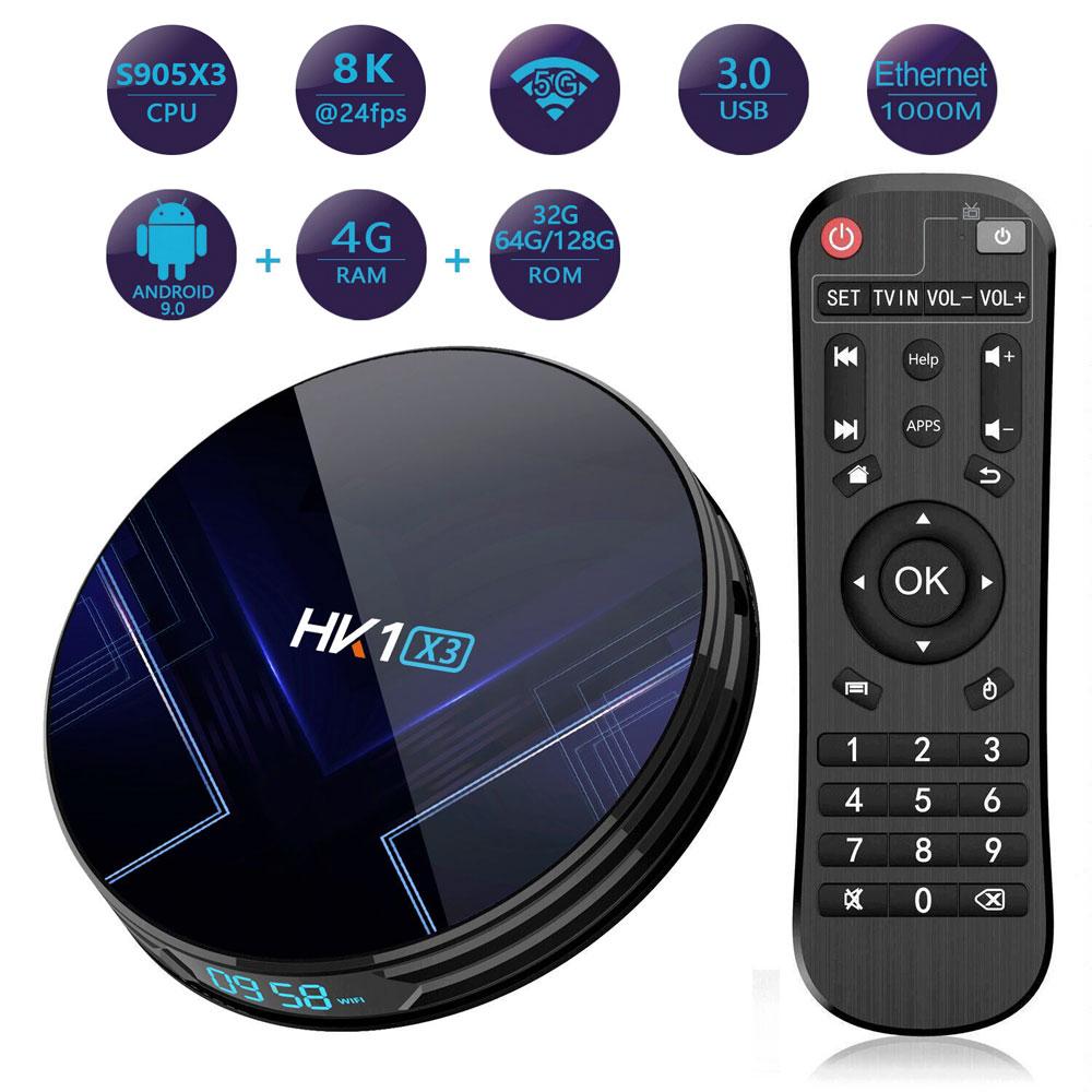 Amlogic S905X3 Android 9.0 9 Smart TV Box 4GB RAM 128GB ROM 1000M LAN 5G WIFI bluetooth 4,0 4K 8K Google Spielen