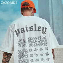 ZAZOMDE 2021 Men Hip Hop Poker Print T-Shirt Streetwear Chinese Letter Tshirt Oversized Harajuku Summer Tops Tees Cotton