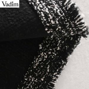 Image 5 - Vadim נשים אלגנטי טוויד midi חצאית חזרה פיצול כיסים אירופאי סגנון משרד ללבוש בסיסי מפנק נקבה מקרית חצאיות BA858